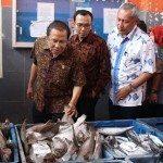 8.4.Menko Maritim dan Sumber Daya Rizal Ramli (kanan) didampingi Ketua KNTI mengangkat ikan cakalang hasil tangkapan nelayan di PPI Karangsong Indramayu 17-11-2015.