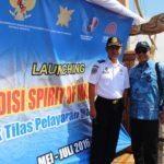 2. Deputi 4 Bidang SDM,Iptek dan Budaya Maritim bersama Pejabat Kemhub pada saat menghadiri pelepasan Kapal Spirit of Majapahit di Marina Ancol