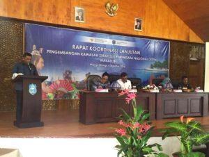 Deputi II Bidang Sumber Daya Alam dan Jasa Kementerian Koordinator Bidang Kemaritiman Agung Kuswandono memberikan Keynote Speech dalam agenda rapat koordinasi lanjutan pengembangan kawasan strategi pariwisata nasional (KSPN) yang berlangsung di Wakatobi 5 agustus 2016