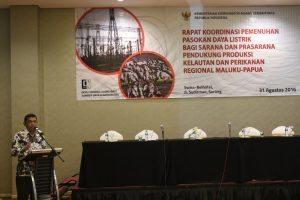 Deputi Agung Kuswandono memberikan arahan pada acara Rakor Pemenuhan Pasokan Daya Listrik Bagi Sarana dan Prasarana Pendukung Produksi Kelautan dan Perikanan Regional Maluku-Papua di Sorong (Rabu, 31/8)