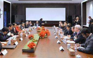 Pertemuan Bilateral Presiden Joko Widodo didampingi Menko Kemaritiman Luhut B. Pandjaitan dengan Delegasi Pemerintah RRT, Hangzhou, 2 September 2016
