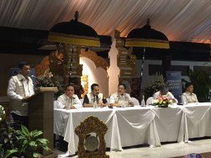Deputi Koordinasi Bidang Sumber Daya Alam dan Jasa Kementerian Koordinator Bidang Kemaritiman Agung Kuswandono memberikan kaynote speech nya dalam Sosialisasi Aplikasi Yachters di Puri Santrian Hotel Sanur, Bali 22 September 2016