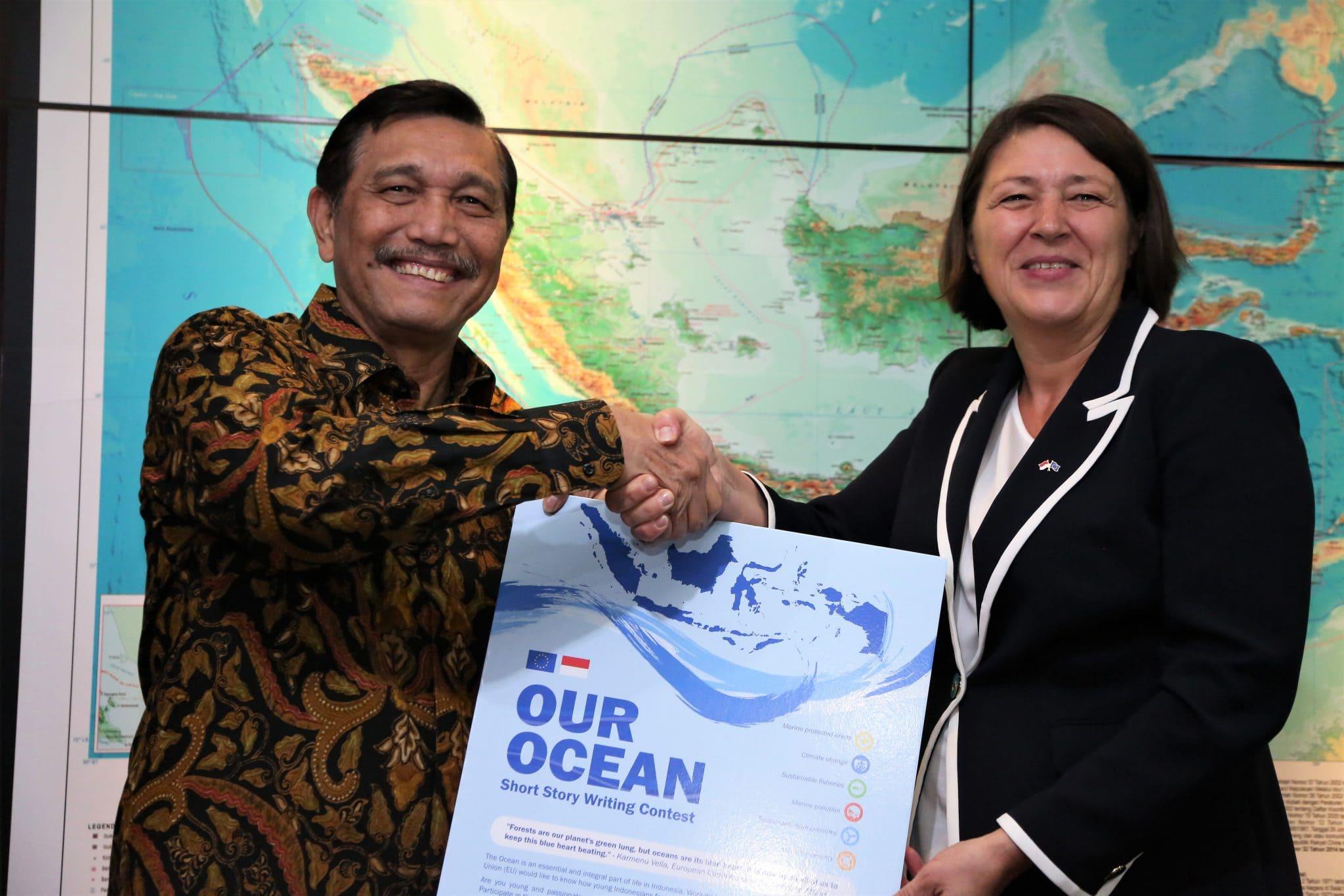 Menko Luhut Pertemuan Bilateral Indonesia – Uni Eropa di Kantor Maritim