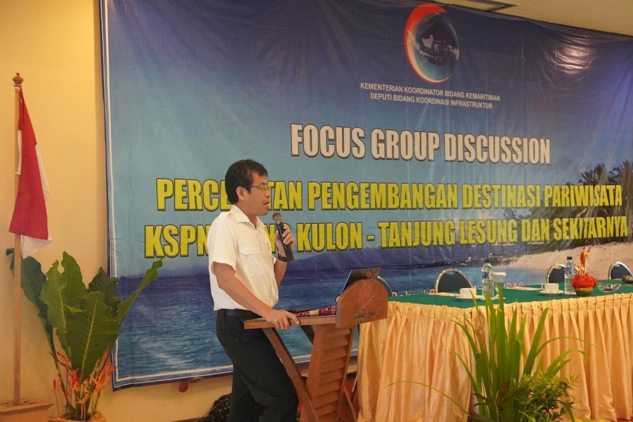 FGD Percepatan Pengembangan Destinasi KSPN Pariwisata Ujung Kulon – Tanjung Lesung dan sekitarnya dibuka resmi oleh Asdep Bidang Infrastruktur Pelayaran, Perikanan dan Pariwisata mewakili Deputi 3