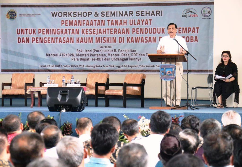Keynote Speaker Menko Luhut Acara Workshop Pemanfaatan Tanah Ulayat untuk Peningkatan Kesejahteraan Penduduk Kawasan Danau Toba