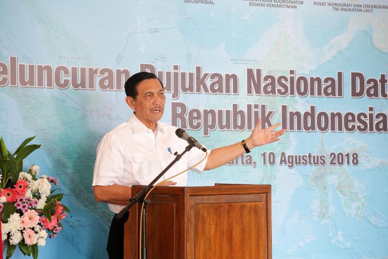 Menko Maritim Luhut B. Pandjaitan Memberi Sambutan Pada Acara Peluncuran Rujukan Nasional Data Kewilayahan RI di Gedung Arsip Nasional