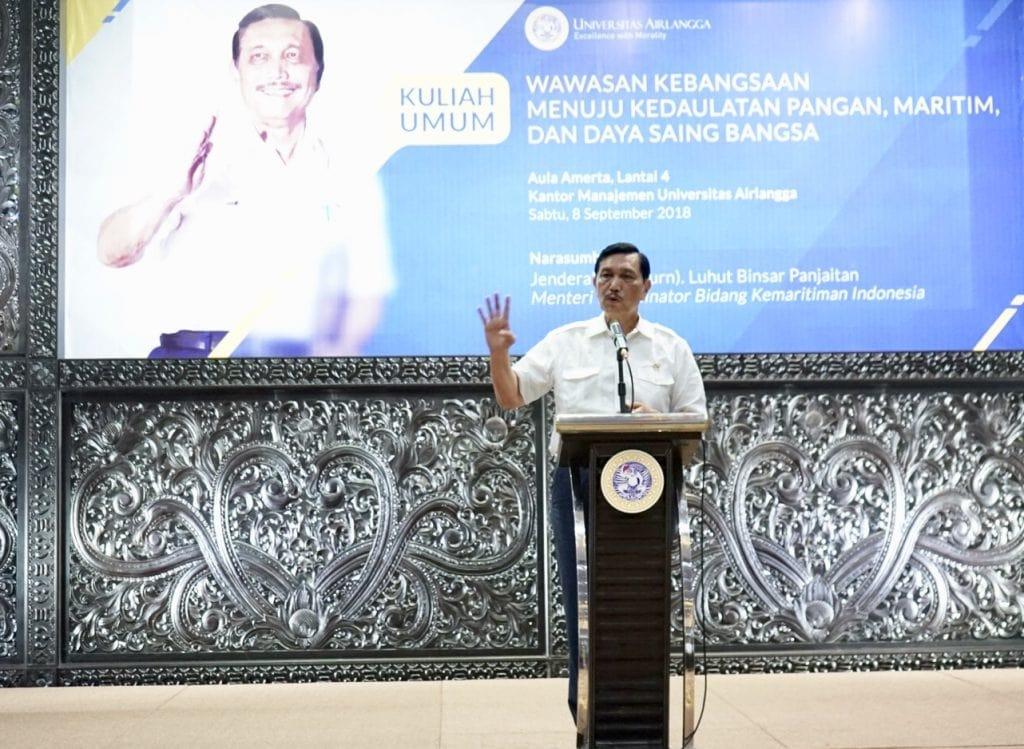 Menko Luhut B. Pandjaitan sebagai keynote speaker di semnas SESKOAL Poros Maritim Dunia