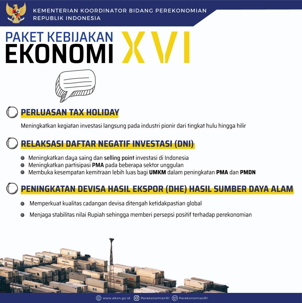 Pemerintah Menerbitkan Paket Kebijakan Ekonomi (PKE) XVI