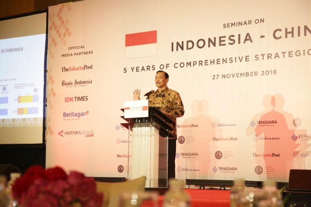 Menko Kemaritiman Luhut B. Pandjaitan Memberikan Sambutan Acara Indonesia-China 5 Years of Comprehensive Strategic Parthership