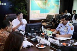 Menko Luhut Rakor Realignment Flight Information Region Di Kantor Maritim