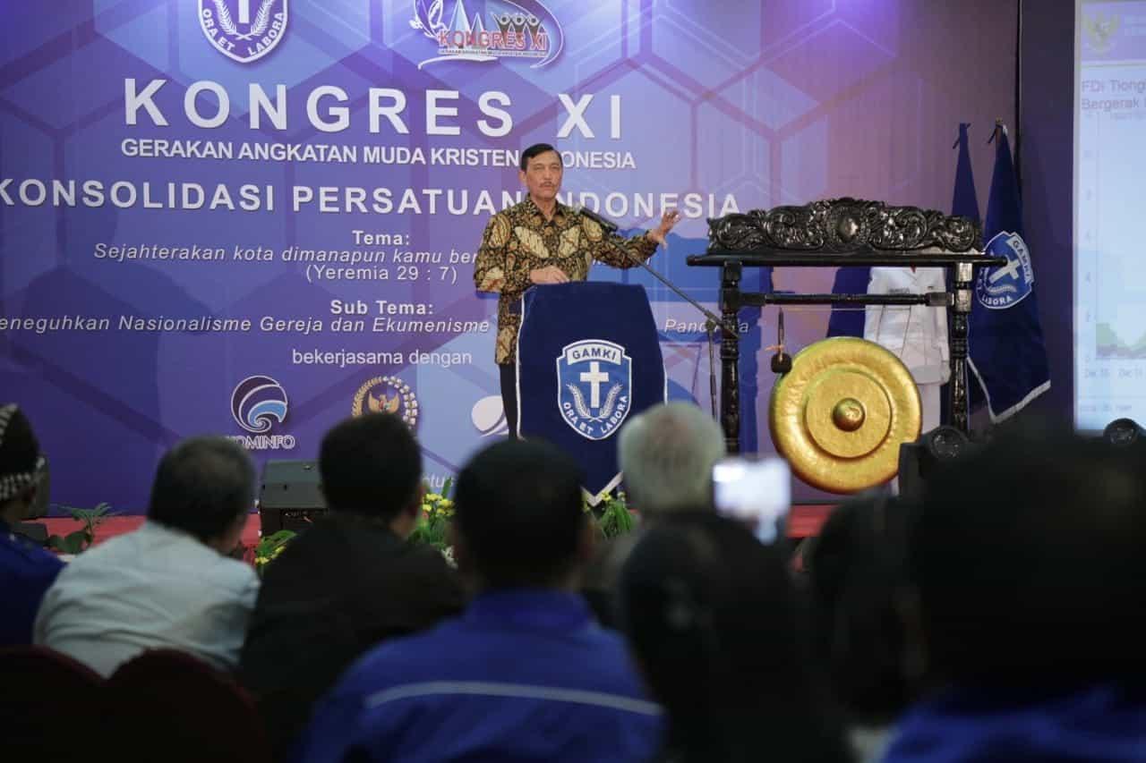 Menko Luhut Membuka Kongres Xi Gamki 2019