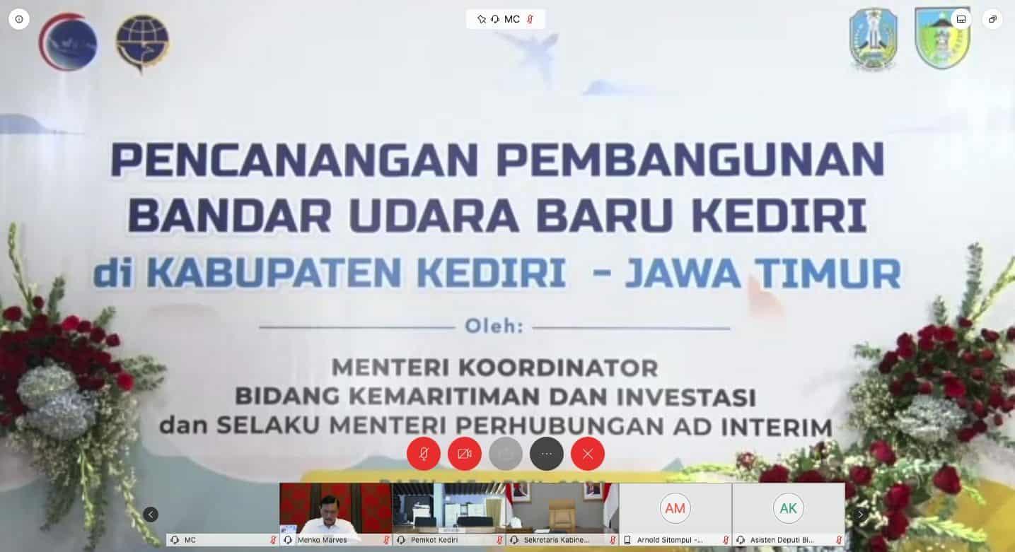Pencanangan Pembangunan Bandara Kediri Secara Virtual Menko Luhut: Tetap Bersinergi Dukung Pembangunan Infrastruktur Indonesia