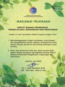 Maklumat Pelayanan Deputi Bidang Koordinasi Pengelolaan Lingkungan dan Kehutanan Kemenko Marves