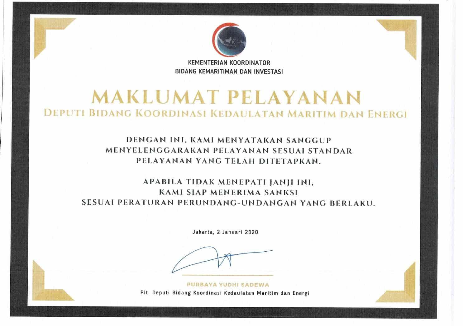 Maklumat Pelayanan Deputi Bidang Koordinasi Kedaulatan Maritim dan Energi Kemenko Marves