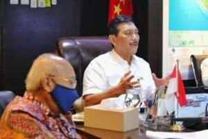 Menko Luhut Melakukan Vidcon Rakor Terkait Lanjutan Penanganan Covid 19 Di 8 Provinsi
