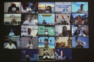 Menko Luhut Video Conference Pengembangan DPSP Borobudur di Kantor Marves