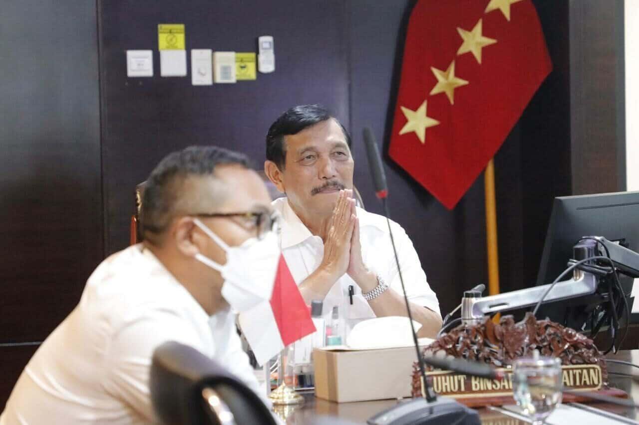 Menko Luhut Vidcon Meeting dengan Dubes India di Kantor Marves