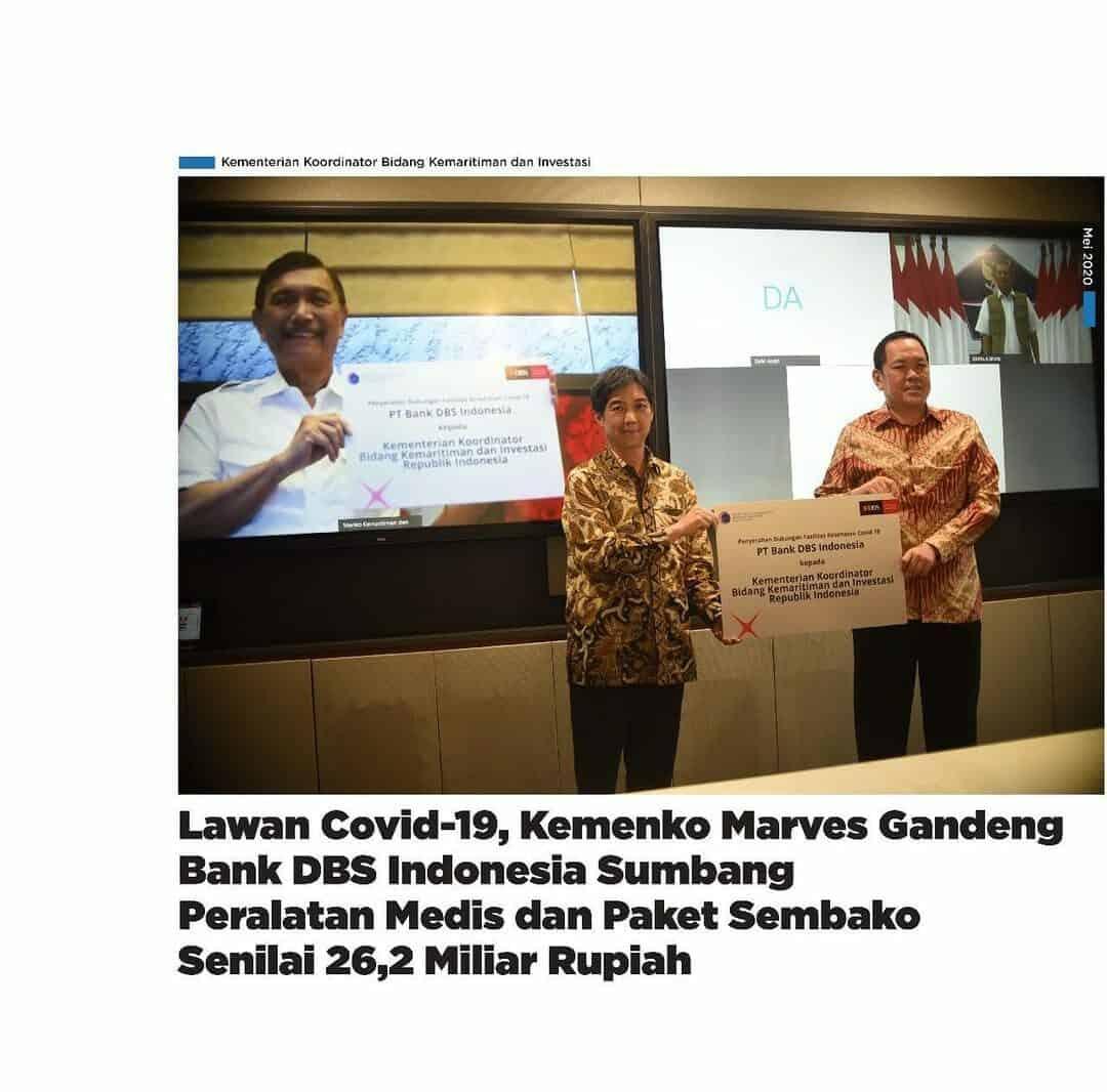 Kemenko Marves Gandeng Bank BDS Indonesia Sumbang Peralatan Medis dan Paket Sembako