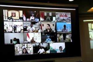 rapat Menko Luhut Vidcon rakor Pengembangan Wilayah Sukabumi pendamping D1 di Kantor Maritim, (24-02-2021)