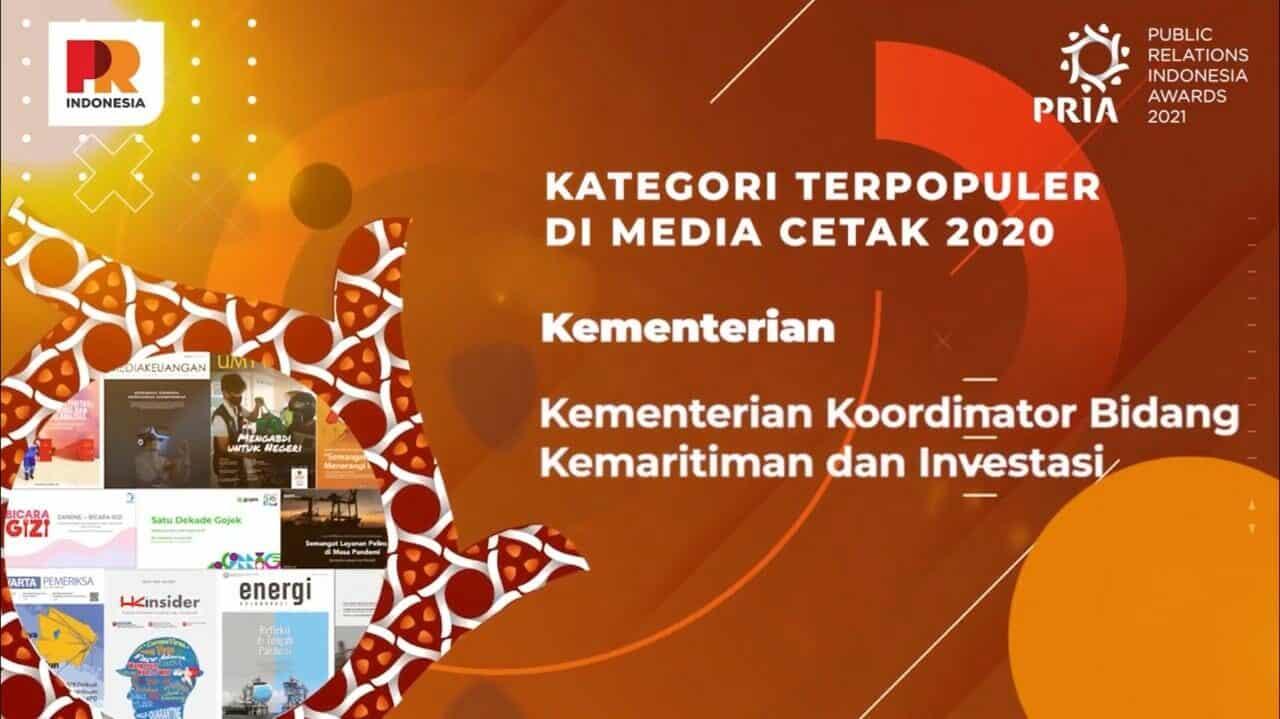 Kemenko Marves Raih Penghargaan Terpopuler Di Media Cetak 2020 pada Ajang PR Indonesia Awards (PRIA) 2021