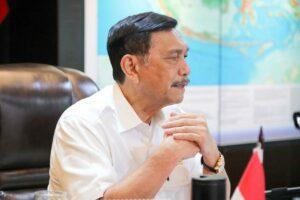 Menko Luhut Vidcon Rakor Securi Port di Kantor Marves