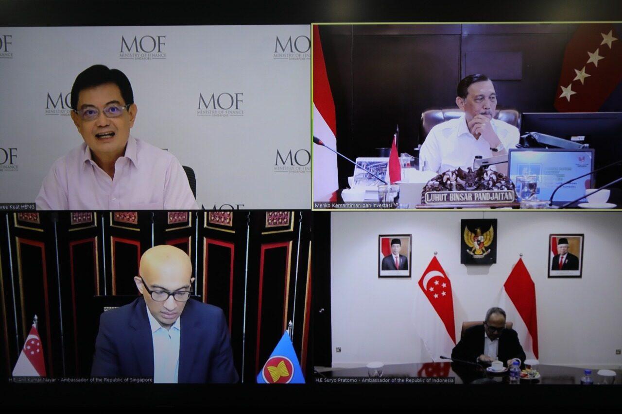 Menko Luhut Vidcon Meeting dengan Deputy Prime Minister Heng Swee Keat